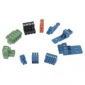 Разъем с винтовыми зажимами 3.5 мм (на 5 проводников, синий, с площадкой для кабеля)